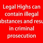 Legal Highs can contain illegal substances and result in criminal prosecution (red)
